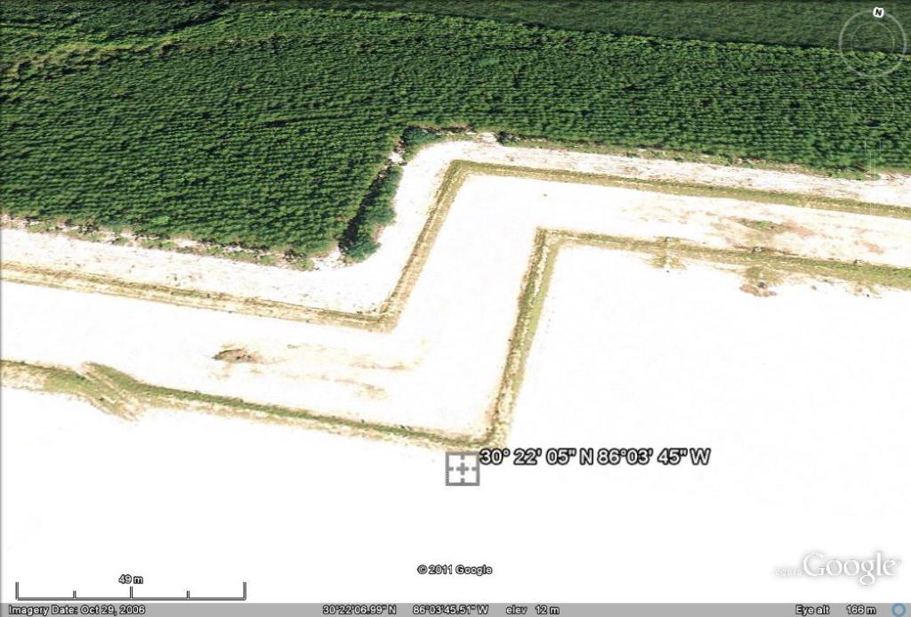 Zoomed view with angle in Google Earth showing some of the structure