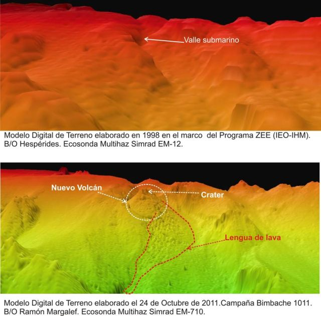 Digial elevation models presented by IEO showing the vent area before (a) the eruption and at present (b), with the new crater and even what is likely submarine lava flows. Images: Instituto Español de Oceanografía (IEO) via volcanodiscovery.com