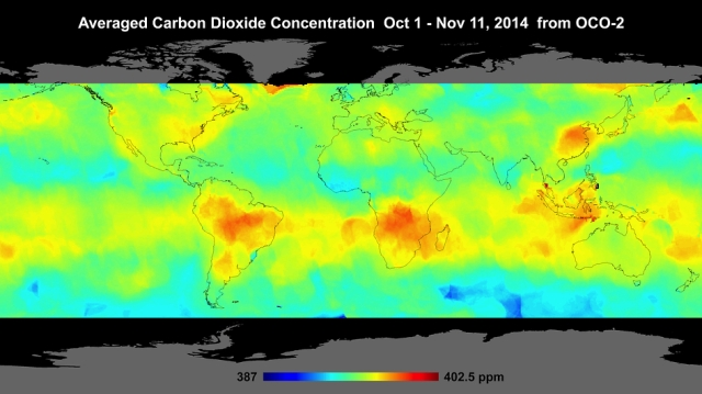 Global atmospheric carbon dioxide concentrations from Oct. 1 through Nov. 11, as recorded by NASA's Orbiting Carbon Observatory-2. Carbon dioxide concentrations are highest above northern Australia, southern Africa and eastern Brazil. Preliminary analysis of the African data shows the high levels there are largely driven by the burning of savannas and forests. Elevated carbon dioxide can also be seen above industrialized Northern Hemisphere regions in China, Europe and North America. Image credit: NASA/JPL-Caltech